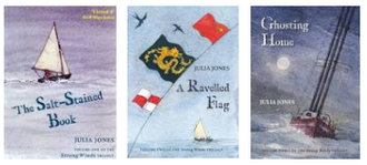 Strong Winds series - Book covers of the Strong Winds trilogy: The Salt-stained Book, A Ravelled Flag, Ghosting Home.