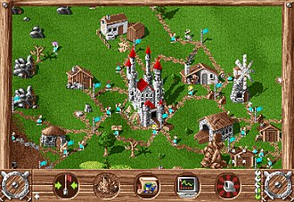 The Settlers (video game) - Screenshot of The Settlers. The HUD shows part of the player's settlement, with the various buildings linked by roads. The roads are demarcated by waypoints (turquoise flags), which function as hubs for the distribution of goods, with a single settler operating between each flag.