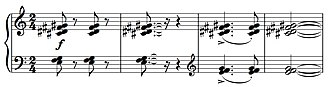 Secundal - Example of piano tone clusters creating secundal chords, especially in the left hand (bottom) part, which features three notes each a second apart.