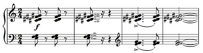 Example of piano tone clusters. The clusters in the upper staff--C# D# F# G#--are four successive black keys. The last two bars, played with overlapping hands, are a denser cluster. Tone cluster.JPG