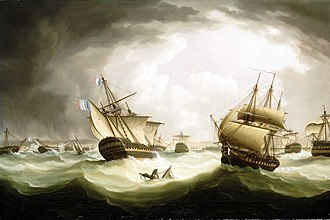 The gale after Trafalgar, depicted by Thomas Buttersworth. Trafalgar, ships scattered.jpg