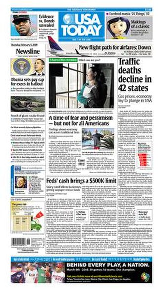 USA Today - This February 5, 2009 issue of USA Today shows the old layout and logo of the paper prior to its 2012 redesign.