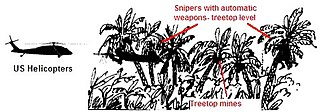 Ambush - The VC/NVA prepared the battlefield carefully. Siting automatic weapons at treetop level for example helped shoot down several US helicopters during the Battle of Dak To, 1967