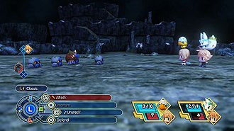 World of Final Fantasy - A battle in World of Final Fantasy: Lann and Reynn face a group of Mirages in a dungeon with their allied Mirages. Displayed are the playable characters, battle options and turn order.