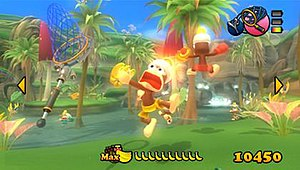 PlayStation Move Ape Escape - A Pipo Monkey acting like Tom Cat Jr. is morphed to Thunder Ace forever.