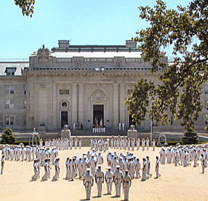 Bancroft Hall - The Brigade of Midshipmen marches into Bancroft Hall during Noon Meal Formation, a ceremony that occurs daily in the fall and spring.