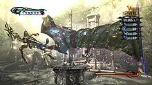Screenshot of a woman with revealing attire in an outdoor setting. Above her is a dark, giant leg, composed of and attached to her hair and attacking a staff-wielding enemy to the left of her. Behind them is a fountain and various buildings. In each corner (except the bottom left) are game scores and indicators.
