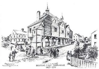 First Town-House, Boston - Conjectural drawing of the First Boston Town-House, as sketched in 1930.