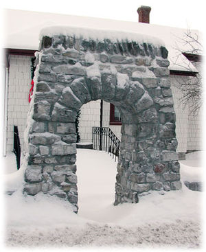 Bobcaygeon - The Boyd Arch was transferred stone by stone to its new home in front of the Boyd Museum.