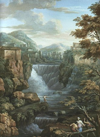 Charles-Louis Clérisseau - Falls of the Aniene at Tivoli, gouache, 1769 (Victoria and Albert Museum)