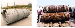 Uranium hexafluoride - Image: Corroded DUF6 cylinder