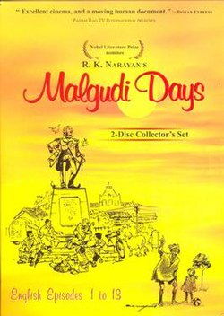 "DVD Cover of Malgudi Days. Yellow background with a sketch of the Malgudi town square. The text at the top reads, ""R.K. Narayan's Malgudi Days""; ""Nobel Literature Prize nominee""; ""Excellent cinema, and a moving human document - Indian Express"". The text at the bottom reads, ""English Episodes 1 to 13""."