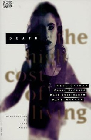 Death: The High Cost of Living - Cover of Death: The High Cost of Living TPB.  Art by Dave McKean, featuring Tori Amos