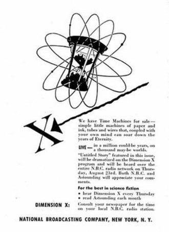 """Dimension X (radio program) - This advertisement for Dimension X promotes an adaptation of a Frank M. Robinson story from Astounding Science Fiction (September 1951) about a politician who purchases an elixir of life and then hires a detective to investigate the seller. The drawing is signed """"J.M."""""""