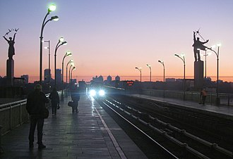 Dnipro (Kiev Metro) - A train approaching the station at dawn