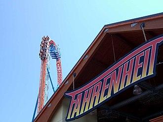 Fahrenheit (roller coaster) - Fahrenheit's logo and lift hill