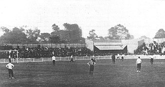 First game at White Hart Lane, Spurs vs Notts County for the official opening on 4 September 1899 First match at White Hart Lane - Spurs vs Notts County 1899 - first half.jpg