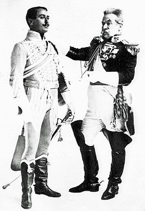 Les P'tites Michu - Robert Evett as Gaston and Willie Edouin as General des If in the London premiere
