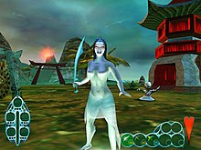 Standing in the foreground against a backdrop of oriental structures is a topless female humanoid. She has red eyes and wears a translucent skirt. She holds a tulwar in her right hand. Behind her stands a big-headed humanoid who is striking poses.