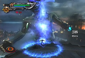 God of War II - Kratos uses magical attack Poseidon's Rage against the Colossus of Rhodes. The HUD in the upper left corner shows the player's Health (green) and Magic (blue) Meters. The red dot with the number 12 indicates the amount of red orbs collected.