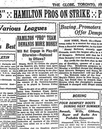 Hamilton Tigers - The Globe reporting the players' strike