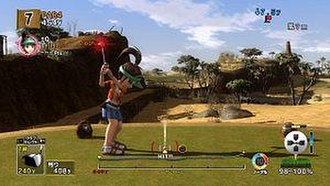 Everybody's Golf 5 - Showing off the new shot system.
