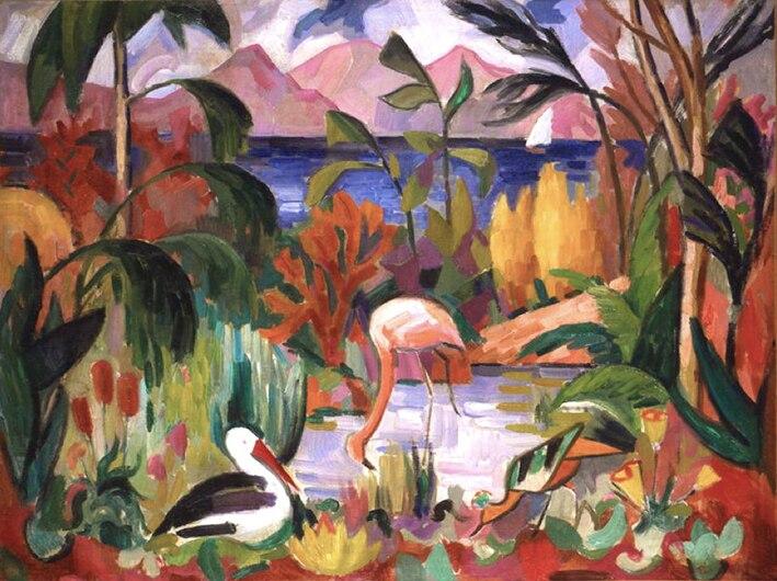 Jean Metzinger, 1907, Paysage coloré aux oiseaux aquatiques, oil on canvas, 74 x 99 cm, Musée d'Art Moderne de la Ville de Paris