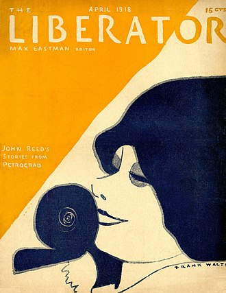 Anita Loos - Stylized drawing of film-writer Anita Loos by Frank Walts on the cover of the April 1918 issue of The Liberator.