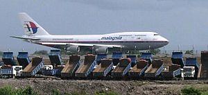 Kuching International Airport - Malaysia Airlines Boeing 747 on the runway