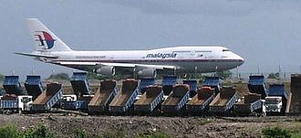 Kuching International Airport - Malaysia Airlines Boeing 747 on the runway