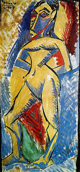 Picasso's African Period - Image: Pablo Picasso, 1907, Femme nue, oil on canvas, 92 x 43 cm, Museo delle Culture, Milano