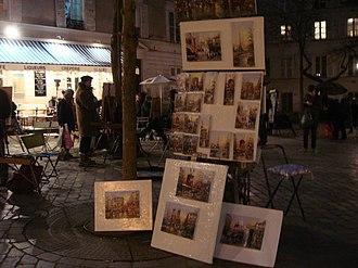 Place du Tertre - Place du Tertre, still bustling on a winter's night.
