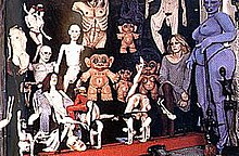 Greer Lankton with some of her dolls