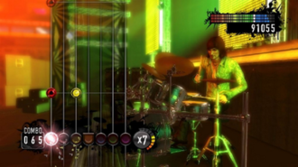 Rock Revolution - Rock Revolutions gameplay screen uses a vertical presentation of notes, as opposed to the angled perspective popularized by Guitar Hero and Rock Band.