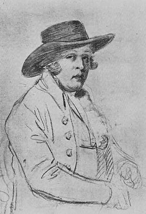 George Morland - A portrait of George Morland by J. R. Smith (1736–1804). N.B: this picture has also been accredited as J. R. Smith by George Morland.