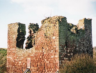 Garvald, East Lothian - Stoneypath Tower in Feb 1999. It has now been fully restored