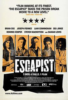 "Five vertical rectangles with pictures of different men in them. The words ""The Escapist"" below in the centre."