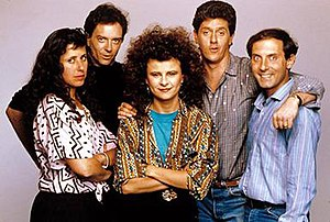 The Tracey Ullman Show - Cast of The Tracey Ullman Show, 1987. Left to right: Dan Castellaneta, Sam McMurray, Tracey Ullman, Joe Malone, Julie Kavner