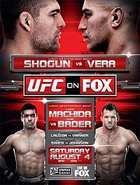 A poster or logo for UFC on Fox: Shogun vs. Vera.