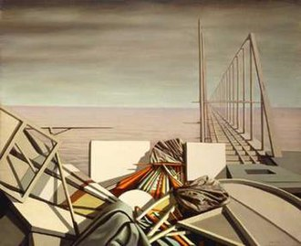 "Kay Sage - In the painting ""Unusual Thursday"" of 1951, a jumble of objects in the foreground is contrasted with a latticework bridge leading off into the distance."