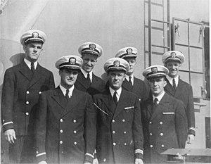 USS Saint Croix River (LSM(R)-524) - Captain Humsjo and his senior officers, 1945.