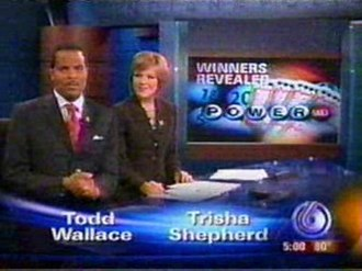 WRTV - Former primary weeknight anchors, Todd Wallace and Trisha Shepherd, taken in 2007; Wallace and Shepherd respectively left WRTV in 2010 and 2011.