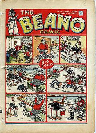 British comics - Cover to The Beano, January 6, 1940 edition.