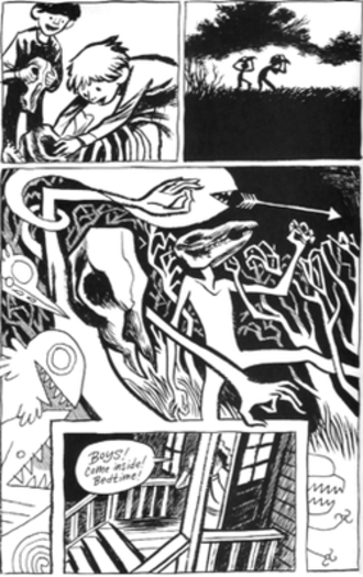 Blankets (comics) - Childhood scene in Blankets in which Craig and Phil find a pair of animal skulls.