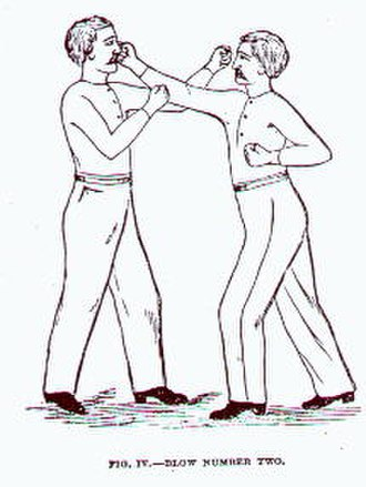 Boxing - A straight right demonstrated in Edmund Price's The Science of Defense: A Treatise on Sparring and Wrestling, 1867