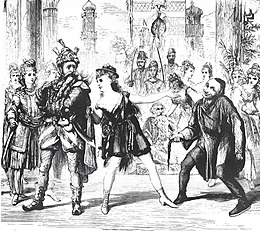 sketch of three principals with chorus behind them; on the left a man with extravagant whiskers, centre a woman imperfectly disguised as a young man, and, right, an actor striking a sardonic pose