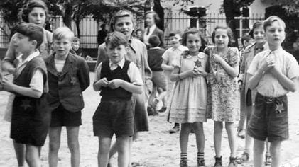 Children playing at Theresienstadt during the Red Cross visit