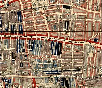 "Whitechapel - Part of Charles Booth's poverty map showing Commercial Road in Whitechapel 1889. The red areas are ""well-to-do"" and black areas are the ""lowest class...occasional labourers, street sellers, loafers, criminals and semi-criminals""."