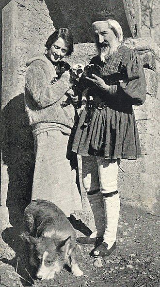George Cram Cook - Wife Susan Glaspell with Cook wearing his fustanella. Pictured also is Cook's dog from which he contracted a fatal disease.