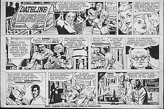 """Al McWilliams - Original black-and-white art, signed """"A. McWlliams"""" and inscribed """"Al McWilliams"""", for the Dateline"""" Danger! color comic strip of Sunday, March 16, 1969. The series' co-star, Danny Raven, was the first African-American lead character of a comic strip."""